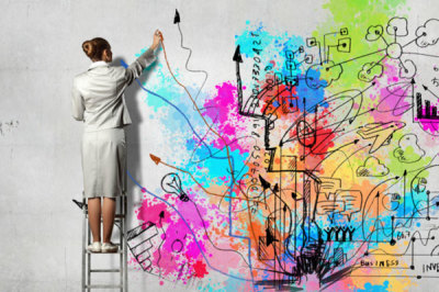 Woman Creating Wall Art